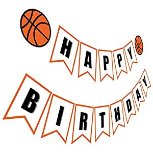 Silvima Basketball Birthday Banner | Basketball Theme Happy Bday Bunting Sign, Basketball Party Decoration