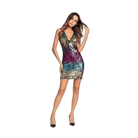 UK Women Sequin V Neck Bodycon Mini Dress Cocktail Evening Party Clubwear S-2XL