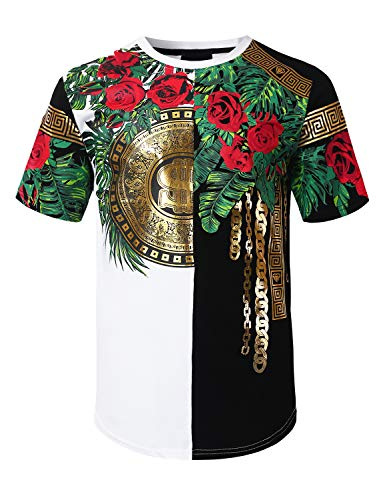 URBANCREWS Mens Hipster Hip Hop Rose Foil Printed Longline T-Shirt White, L