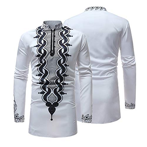 Beautyfine Men's Autumn Winter Top Blouse,Luxury African Print Long Sleeve Dashiki Shirt by Beautyfine (Image #2)