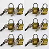 12 Small Metal Padlocks Heavy Duty 1'' Brass Box Locks Keyed Jewelry 2 Keys 25mm