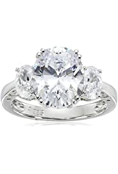 Platinum Plated Sterling Silver Oval Cubic Zirconia 3-Stone Ring