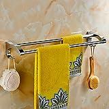 Stainless Steel Towel Bar Towel Rack Bath Towel Holder Hardware Silver Mirror Surface 60cm (Design : Double pole)