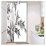 Decorative Privacy Window Film Bamboo Tree Illustration Traditional Chinese Calligraphy Style Asian Culture No-Glue Self Static Cling for Home Bedroom Bathroom Kitchen Office,Charcoal Grey White