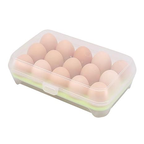 Scrox 1x Huevera plastico Gran Capacidad Estuche Transparente con Tapa Cajas de almacenaje plastico Cocina Envases para Alimentos Huevera frigorifico ...