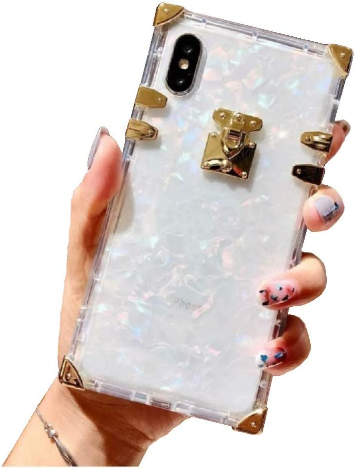 """BABEMALL Compatible for iPhone X/XS 5.8"""" Case Luxury Square Sparkle Glitter Light Silver Shell Transparent TPU Phone Metal Corner Case (Shell Clear, for iPhone X XS inch)"""