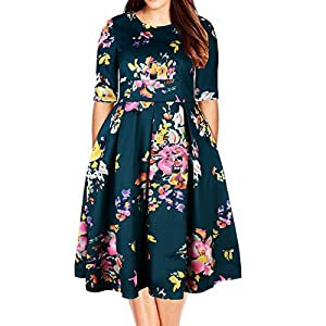 Samtree Women's Plus Size Floral 3/4 Sleeve Backless Cocktail Party Swing Dress(UK 26(US 22 Plus),Green)