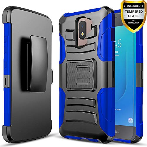 Galaxy J2 Core Case, with [Tempered Glass Screen Protector Included],  Circlemalls Built-in Kickstand Belt Clip Holster Heavy Duty Protective  Phone