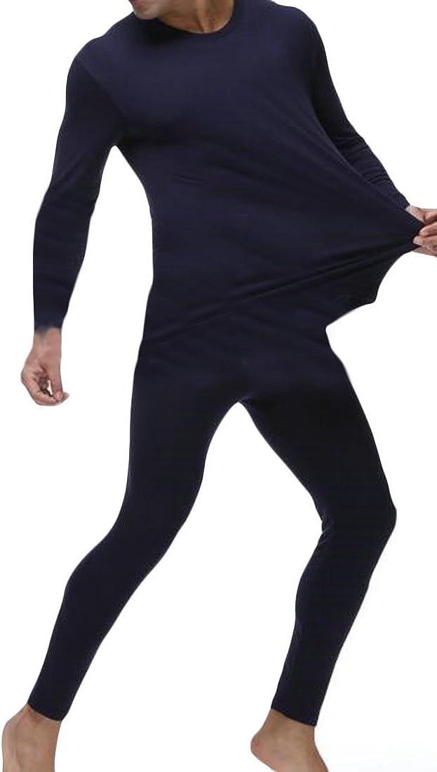 Fulok Mens Winter Modal Long John Soft Plus Size Thermal Underwear