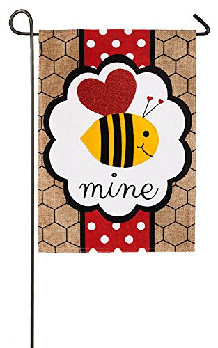 Evergreen Flag Bee Mine Valentine's Burlap Garden Flag, 12.5 x 18 inches ()