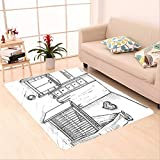 Sophiehome skid Slip rubber back antibacterial  Area Rug child s room in a sketch style nursery cots changing table vector illustration 587852528 Home Decorative