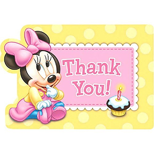 Amscan Disney Baby Minnie Mouse 1St Birthday Postcard Thank You Cards, Pink ()