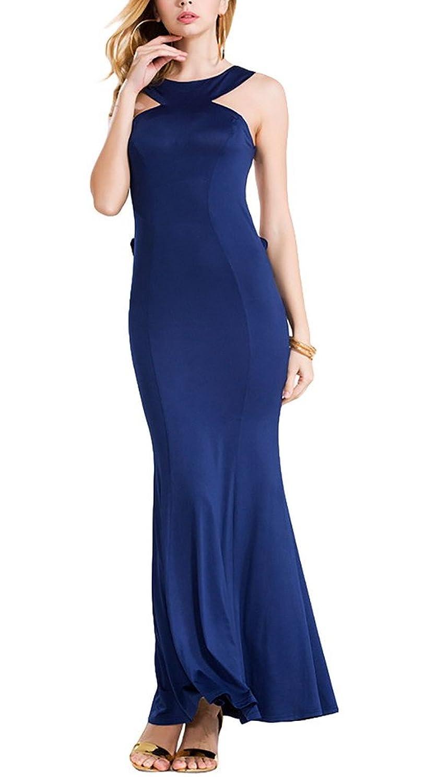 Aivtalk Damen Ohne Arm Rückenfrei Maxi Abendmode Cocktailkleid Partykleid - Blau