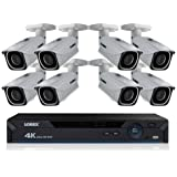 Lorex LNR6100 8-Channel 4K UHD NVR with 2TB HDD and 8x LNB8005 Night Vision Bullet IP Cameras