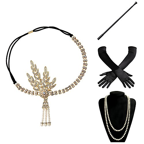 BABEYOND 1920s Flapper Gatsby Costume Accessories Set 20s Flapper Headband Pearl Necklace Gloves Cigarette Holder (Set-23)