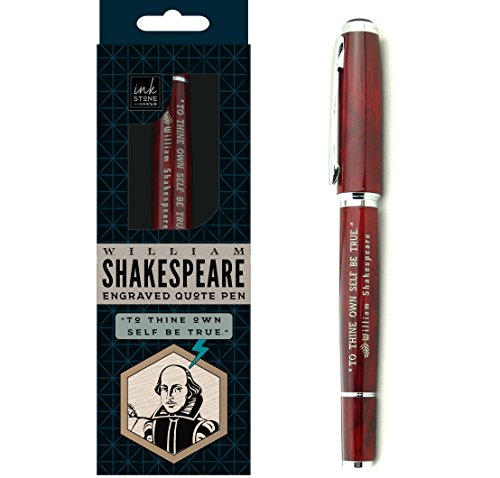 William Shakespeare Engraved Quote Pen -To Thine Own Self Be True. - Literary Gifts for Writers Actors Librarians Teachers Directors ()