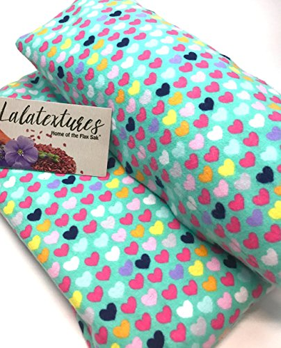 Natural Pain Relief, Cold and Heat Therapy, 11 x 21 in. Extra Large microwavable flax heating pad, Lavender, Teal With Hearts The