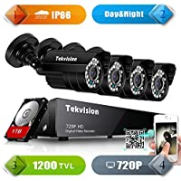 Tekvision H.264 AHD 8 Channel 1200TVL 720P HD DVR Security Camera System, 4 Bullet Outdoor Camera, 1TB HDD pre-installed