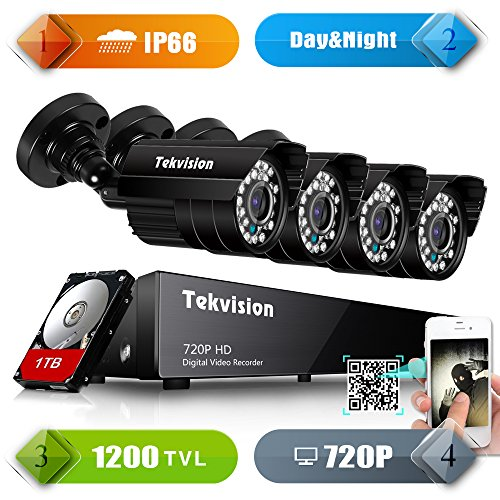 Tekvision Channel 1200TVL Security pre installed