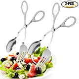 "Salad Tongs, Justdolife 2 PCS 9.5"" Stainless Steel Kitchen Tongs with Clip Cooking Tongs Serving Tongs Fork Tongs Cake Clip Bread Clip"