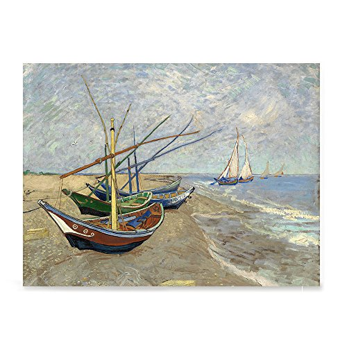 EzPosterPrints - Vincent Van Gogh Art Reproduction Posters - Poster Printing - Wall Art Print for Home Office Decor - Fishing Boats ON The Beach - 24X18 inches