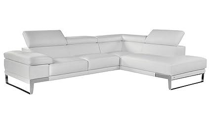 Ju0026M U0026quot;Nicolettiu0026quot; White Top Grain Italian Leather Sectional Sofa