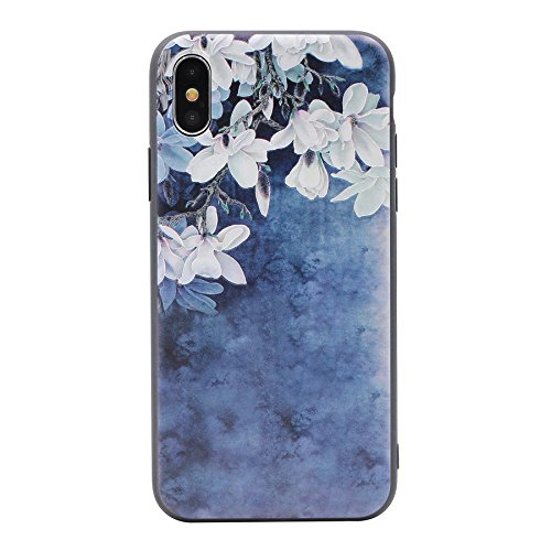 iPhone X Case, MC Fashion Super Cute [3D Textured Printing] Bright Vivid Floral Flower Patterns Ultra Slim Protective Soft TPU Case for Apple iPhone X/iPhone 10 (2017) Release (Lily) (Flower Apple Iphone)