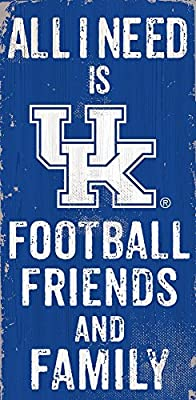 Fan Creations Color University of Kentucky All I Need Is Football, Family & Friends Sign, Multicolored