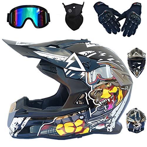D-O.T Standard Kinder Motorradhelm MTB Integral BMX Quad Enduro Scooter Goggle Handschuhe Motorrad Motocross Helme