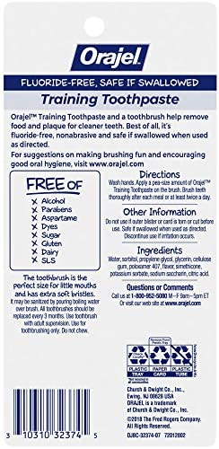 51owXGZUPBL. AC - Orajel Daniel Tiger's Neighborhood Fluoride-Free Training Toothpaste & Toothbrush Combo Pack, Fruity Stripes, 1.0oz