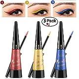Glitter Liquid Eyeliner Shouhengda Waterproof Shimmer Silver Gold Metallic Colorful Eyeliners Eye Makeup (3 Colors Sets-A)