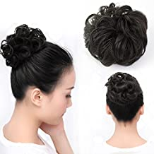 Beauty Angelbella Lovely Scrunchie Updos Synthetic Hairpiece Curly Messy Bun Hair Extensions Different Colors Available (1b#)