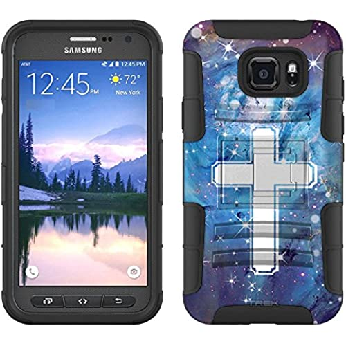 Samsung Galaxy S7 Active Armor Hybrid Case Cross on Nebula Blue 2 Piece Case with Holster for Samsung Galaxy S7 Sales