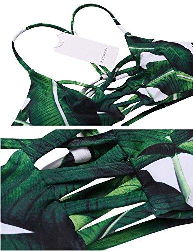 EKOUAER Damen Brazilian Geblümte Triange BikiniSet mit Träger PushUp ...
