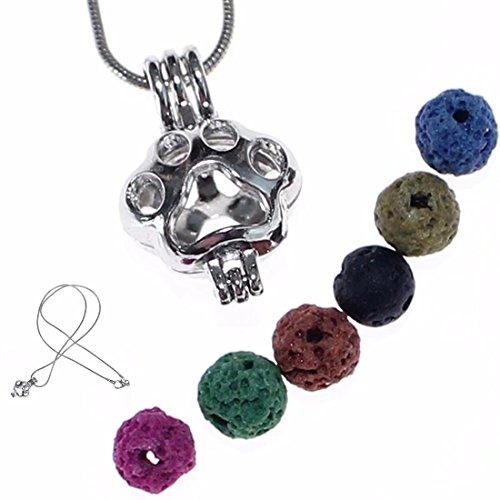 KingFurt 18'' Aromatherapy Essential Oil Diffuser Necklace - Dog or Cat Paw with 6 lava stones for Women Girl Valentine's Day Gift by KingFurt