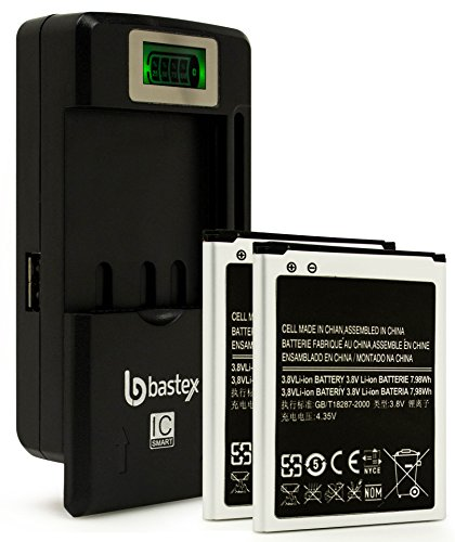 Two (2pk) Bastex Battery for SamSung Galaxy SIII S3+plus One (1) Bastex External Dock LCD Battery Charger