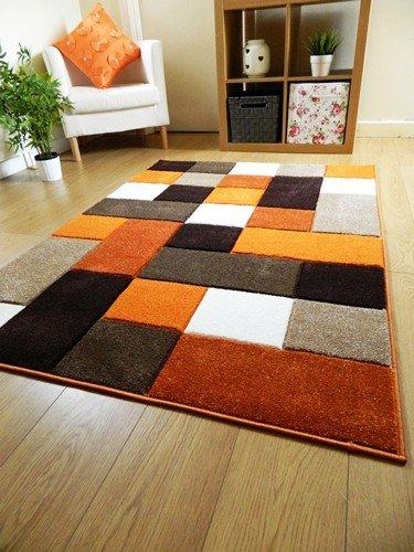 New Modern Designer Rug Thick Burnt Orange Brown Cream Square Design Carpet  (66x230cm (Runner