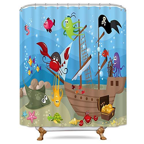 Riyidecor Ocean Pirate Kids Shower Curtain Weighted Hem Octopus Sea Marine Animal Decor Fabric Panel Bathroom Set 72x72 Inch with 12-Pack Plastic Shower Hooks -