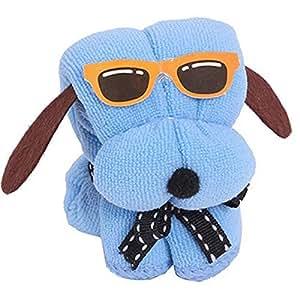 GulfDealz Microfiber Dog Shape, Washcloth Towel - Blue