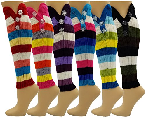 6 Pairs Leg Warmers for Women, Striped Colorful w/ Buttons, Knee High Warm Winter Sleeve (Rainbow Striped w/ 3 Buttons) Colorful Arm Warmers