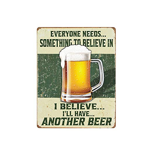 SZBOYU Vintage Metal Iron Sign Wall Plaque Poster I Believe I Will Have Another Beer for Cafe Bar Pub Beer Club Wall Home Decor Retro 12