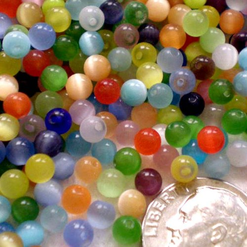 4mm Round 100 Unique Beads - Beading Station 100-Piece Tiny Cat Eye Gemstone Round Beads, 4mm, Multicolor
