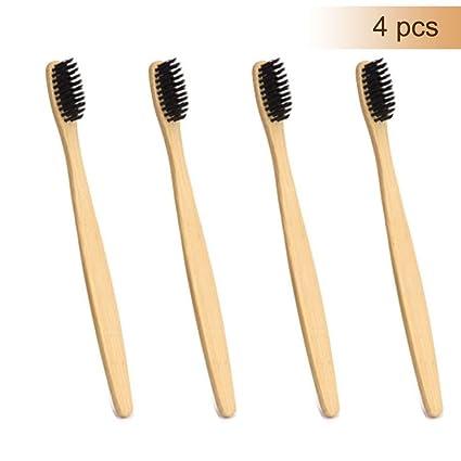 Cepillo de dientes de bambú del carbón de leña 4PCS - cerdas suaves naturales Cepillo de