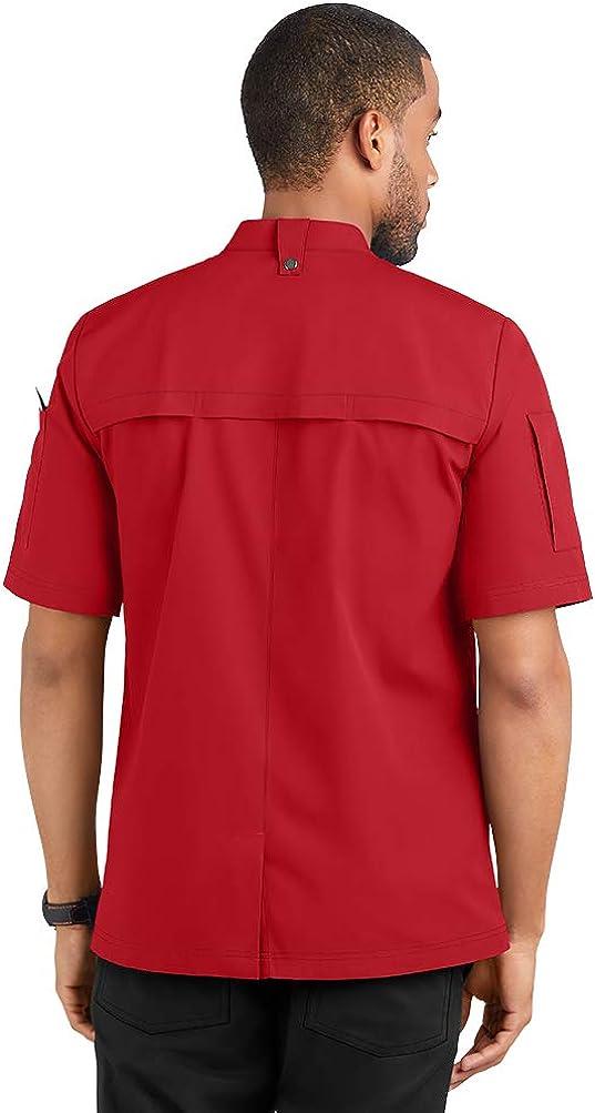 S-3X, 5 Colors Mens Lightweight Chef Coat with Hidden Mesh Vents