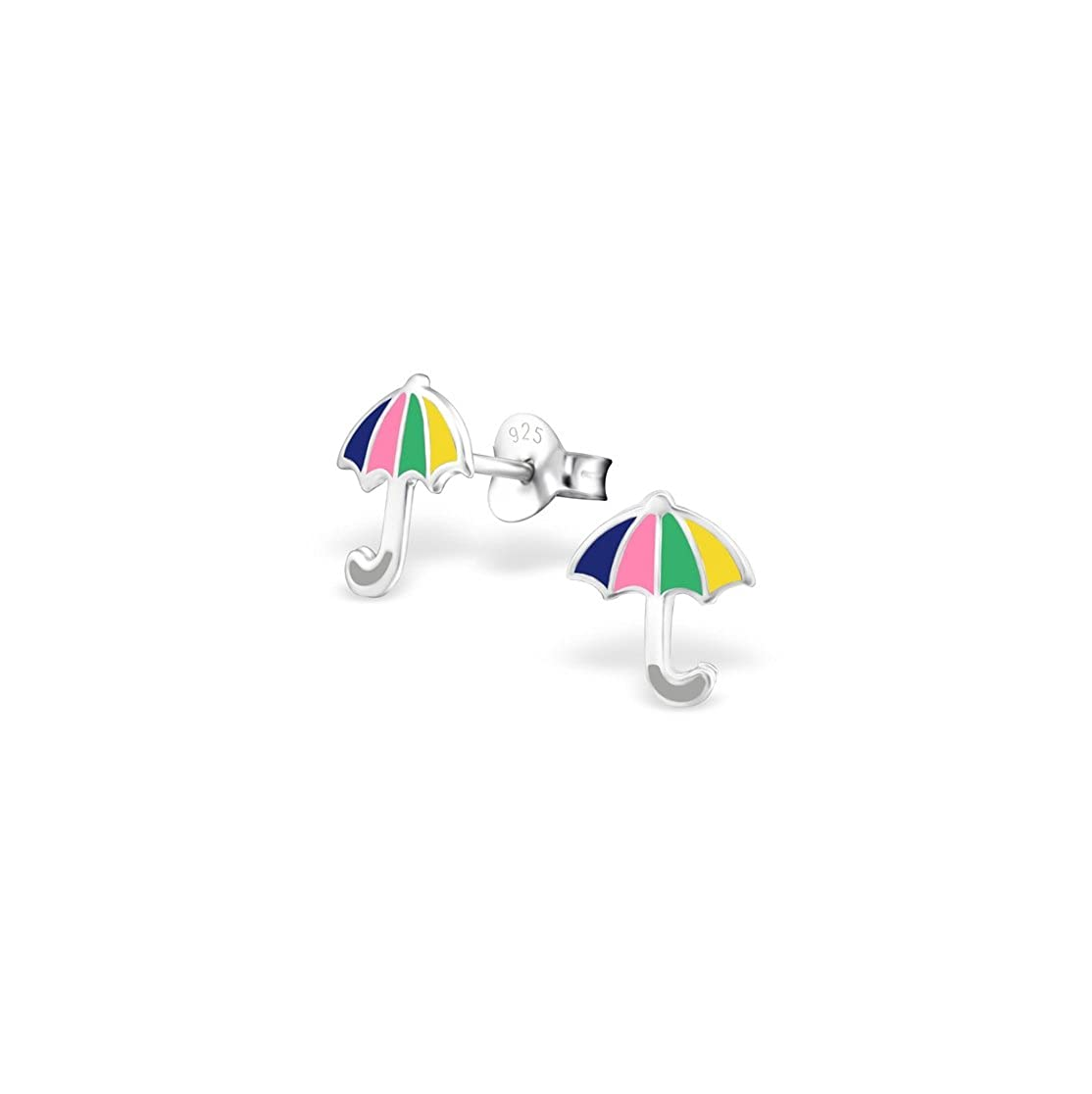 Girls Umbrella Colorful Ear Studs 925 Sterling Silver