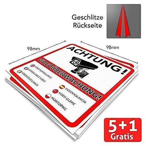 6 Achtung Videoüberwachung Premium Aufkleber Schild Sticker Hinweisschild Warnschild Für Mit Kamera Videoüberwachtes Objekt Haus Gelände