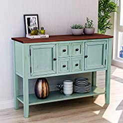 Farmhouse Buffet Sideboards P PURLOVE Console Table Buffet Table with Storage Drawers Cabinets and Bottom Shelf (Antique Blue) farmhouse buffet sideboards