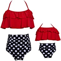 PURFEEL Mother and Daughter Swimwear Family Matching Swimsuit Girls Swimwear Red+Polka Dot X-Large/Adult
