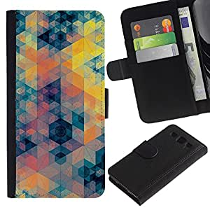 A-type (Blue Yellow Orange Pattern) Colorida Impresión Funda Cuero Monedero Caja Bolsa Cubierta Caja Piel Card Slots Para Samsung Galaxy S3 III i9300 i747