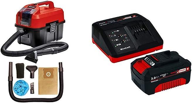 Einhell Aspirador seco-húmedo, Rojo, Negro + Kit cargador con ...
